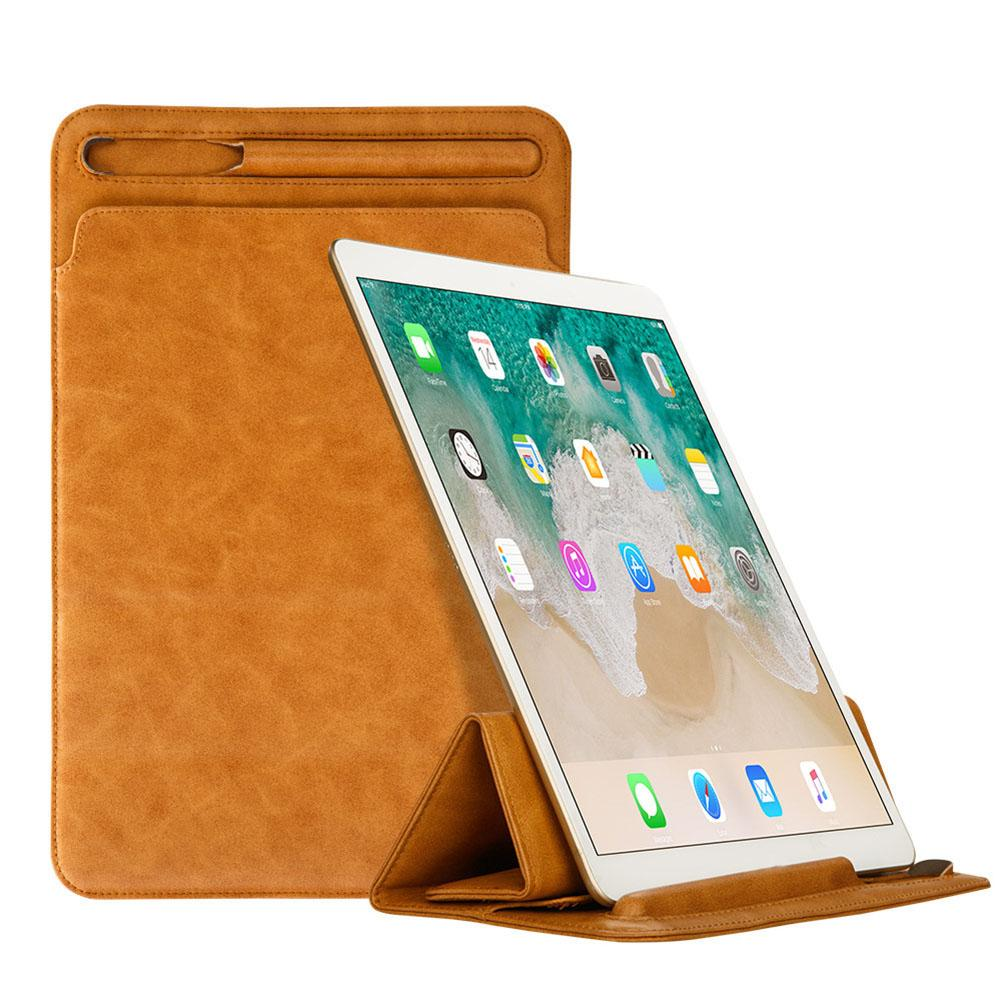 Luxury Leather Sleeve Case For iPad Pro 11 inch 2018 Retro Pouch Folding Bag with Pencil Holder Slot Case Protective Cover