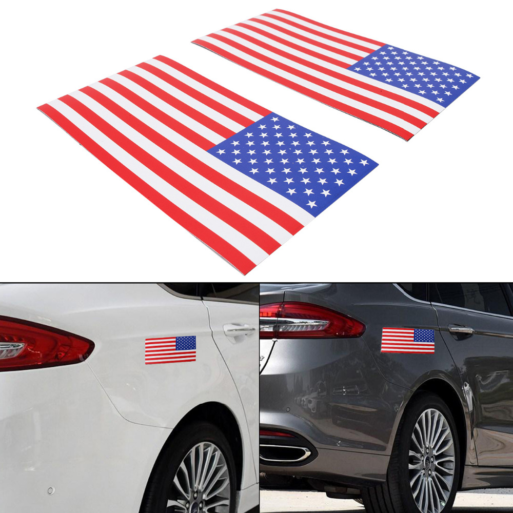 2PC 0.6mm Thick 7.5x4 Removable Magnetic Signs USA American Flag Auto Body Decal Outdoor Car Stickers on Right #SGB-10-2-HR