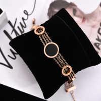 YUN RUO Mode Schwarz Runde Brief Armband Frau Kette Geschenk Rose Gold Farbe Edelstahl Schmuck Nie Verblassen Tropfen einkaufen