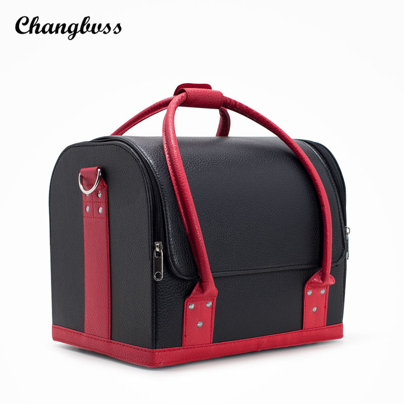 Professional Women Cosmetic Bag Portable Beauticians PU Leather Make Up Storage Box Travel Cosmetics Organizer Lady Makeup Case fashion trunk neceser pu professional portable multifunctional large women makeup bag cosmetic case make up box travel toiletry