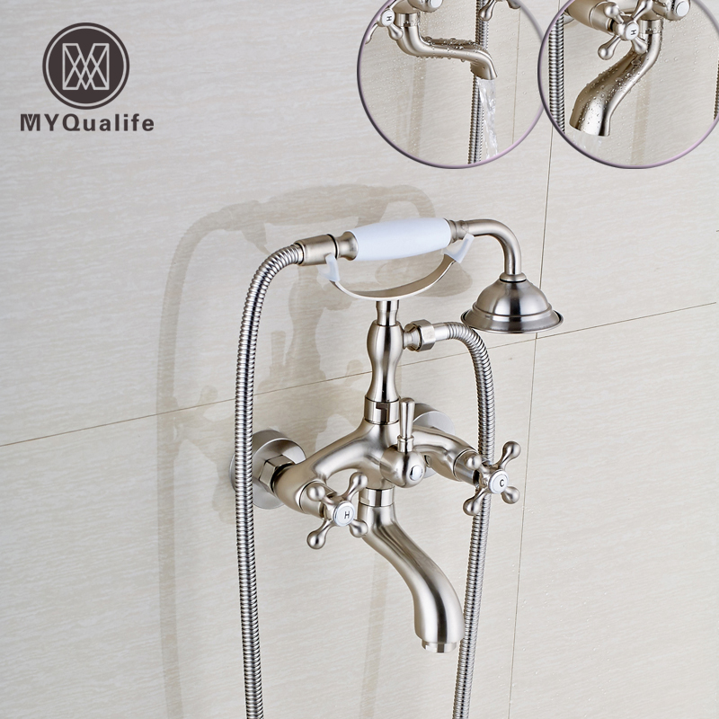 Brushed Nickel Bathroom Bath and Shower Faucet Wall mounted Bathtub Sink Mixer with Handshower + Rotation Tub Spout new wall mounted dual handles three holes led light bathroom tub faucet brushed nickle waterfall shower bathtub faucet mixer tap