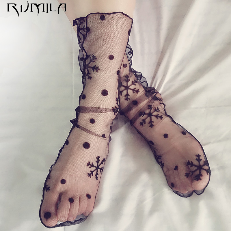 Sexy Star Breathable Silk Heap Heap Soft Elasticity Black Fishnet Lace Flower Mesh Ankle Fashion Socks Summer Style TT0911