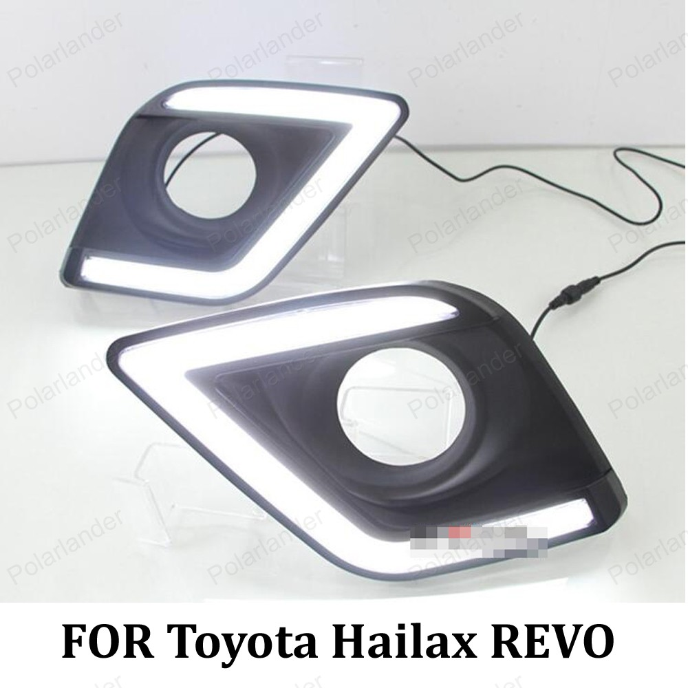 LED daytime running lights for T/oyota H/ILUX R/EVO 15 16 fog light front turn signals lamp car DRL