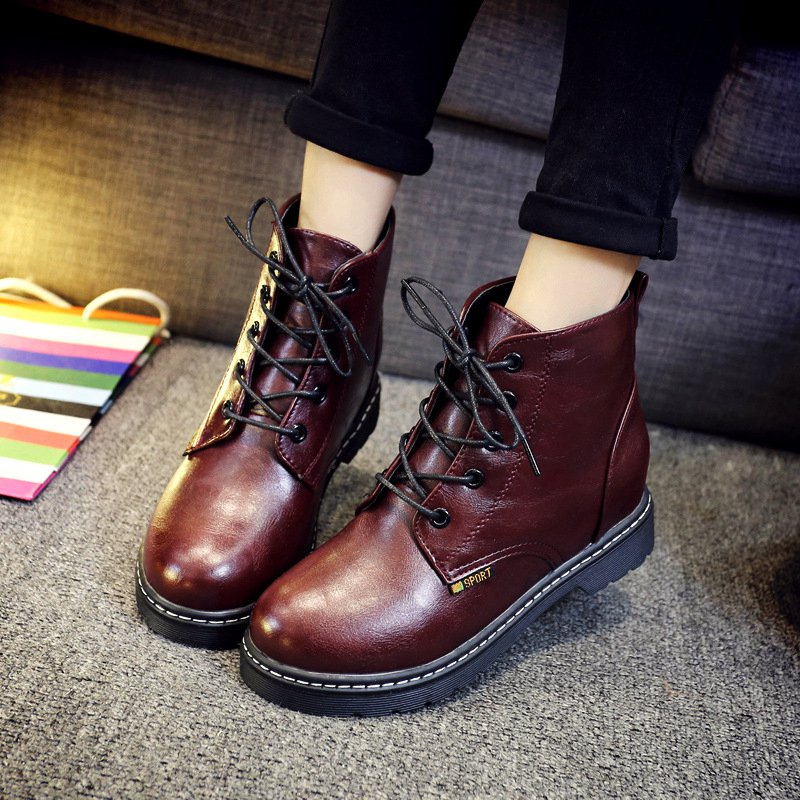 ФОТО Free Shipping Women Ankle Boots Lace-Up Casual Shoes Ladies Girls Thicken Warm Autumn Winter Boots Zapatos