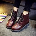 Mulheres livres do Transporte Ankle Boots Lace-Up Sapatos Casuais Senhoras Meninas Engrossar Quente Outono Inverno Botas Zapatos