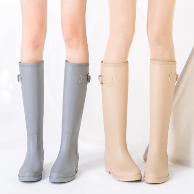 PVC Women Rain Boots Girls Ladies Tall Boots Women's Pure Color Rain Boots Outdoor Rubber Water shoes For Female Casual Walking rain boots women pvc prince waterproof high heel water shoes tall rain boots ankle gummis rain boots female rubber toe rainboots