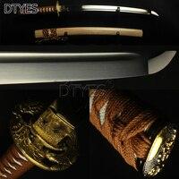 Real Sahrp Japanese Sword Wakizashi T10 Carbon Steel Full Tang Bo Hi Mirror Blade Eagle Brass Tsuba Samurai Sword Battle Ready