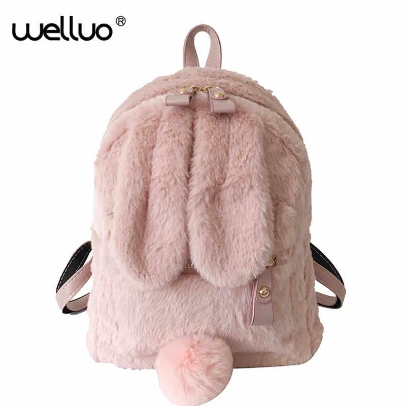 e380aa1b49e1 Cute Faux Fur Mini Backpack Rabbit Ear Women Travel Shoulder Bags ...