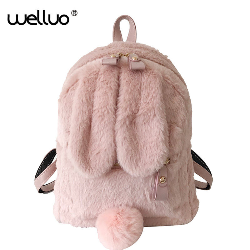 Cute Faux Fur Mini Backpack Rabbit Ear Women Travel Shoulder Bags Fashion Plush Bagpack Rucksack School Bag For Girls XA566WB