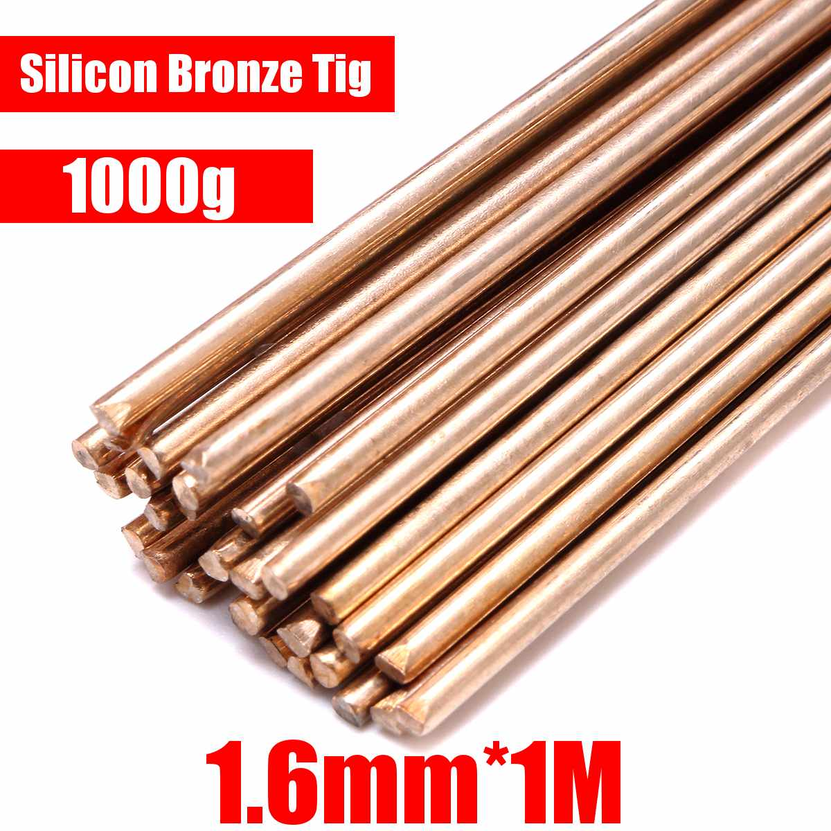 1000g 50000PSI Gold Silicon Bronze Tig Welding Rods 91cm Long Rod 1.6mm Diameter