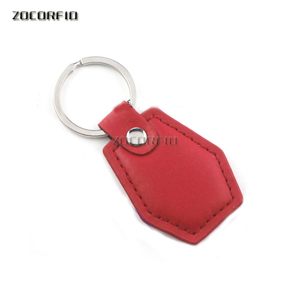 100pcs/Lot S50 Chip (High- Grade Leather) 13.56MHZ RFID Proximity NFCToken Keyfob Keychains For Access Control System