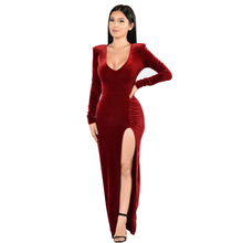 FREE SHIPPING !! Fashion Deep V Velvet Long Dress Sexy Lady High Slit Party Dresses JKP940