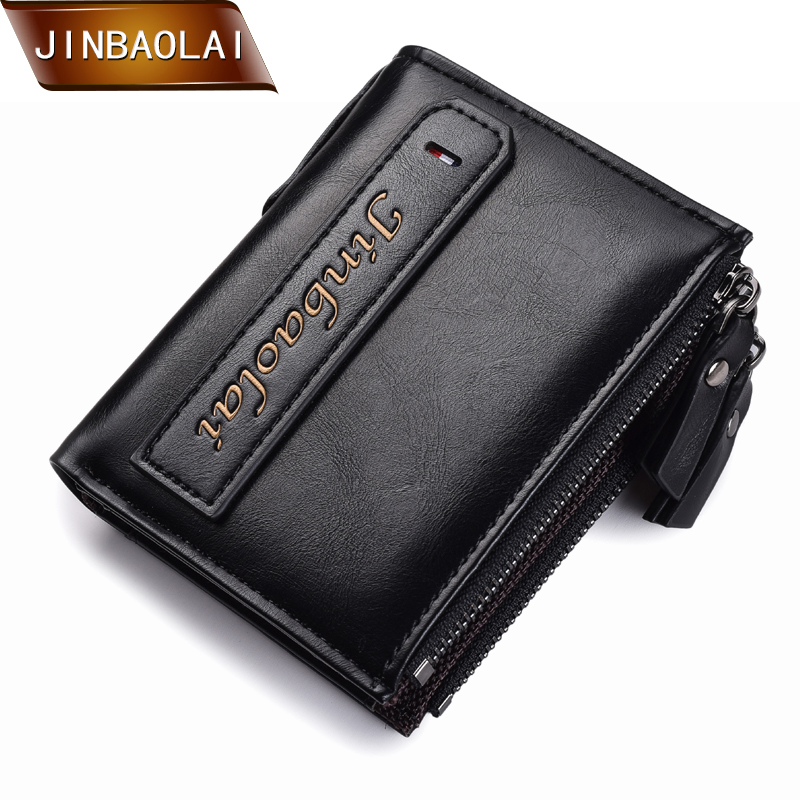 JINBAOLAI Men Wallet Multifunction Purse Men Double Zipper Coin Pocket Purse High Quality PU Leather Credit Card Wallet Carteira