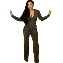 Sexy Deep V Neck Glitter Wide Leg Jumpsuit Women Long Sleeve Elegant Loose Rompers with Sashes Ribbed Nightclub Party Overalls