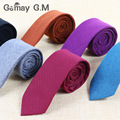 2016 black slim necktie male solid skinny kravat vintage green man narrow neckwear red wool neck tie high quality