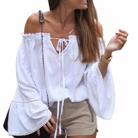 2017 Summer Sexy off the shoulder tops for women Long Flare Sleeve White Slash Neck T Shirt Tops Female