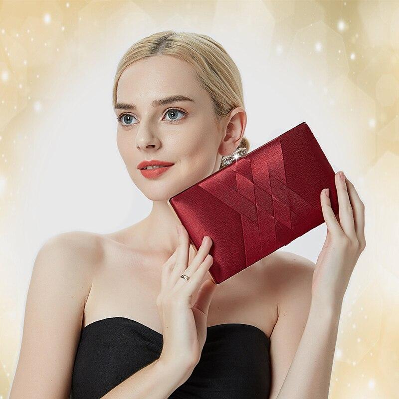 Image 5 - Women Wedding Clutch Purse and Handbag Elegant Silk Red Evening Bag Chain Handbag Fashion Women Shoulder Bag  ZD1101Top-Handle Bags   -