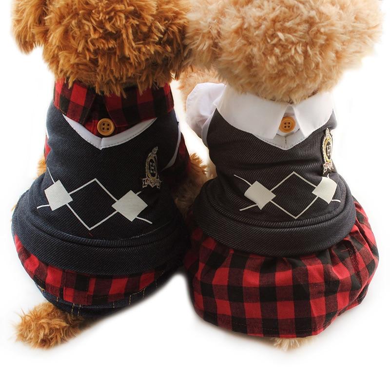 Armi магазин весна осінь Pet Lover одяг решітки собака плаття собак чотири ноги Rompers 6072016 Pet одяг Постачання XS S M L XL