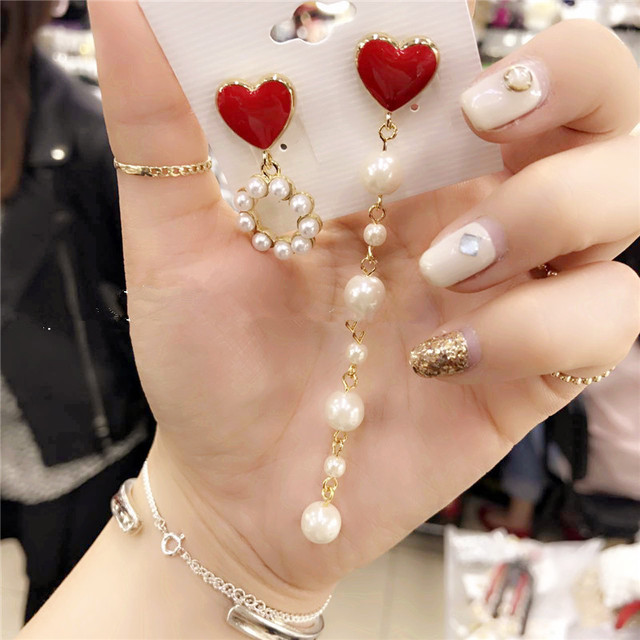 2017 New Korean Sweety Drop Oil Heart Simulated Pearl Boucle D'oreille Pendante