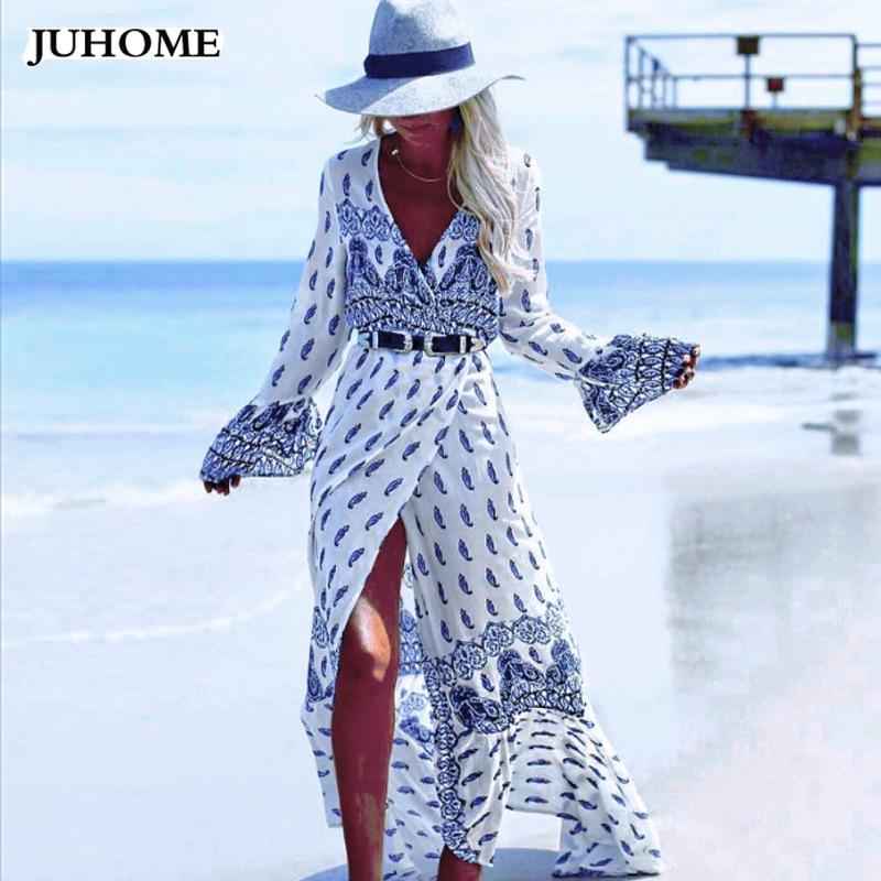 2017 autumn Fashion Beach hippie boho dresses long sleeve flower maxi v neck sexy plus size 3XL 4XL split Floor Length vestidos