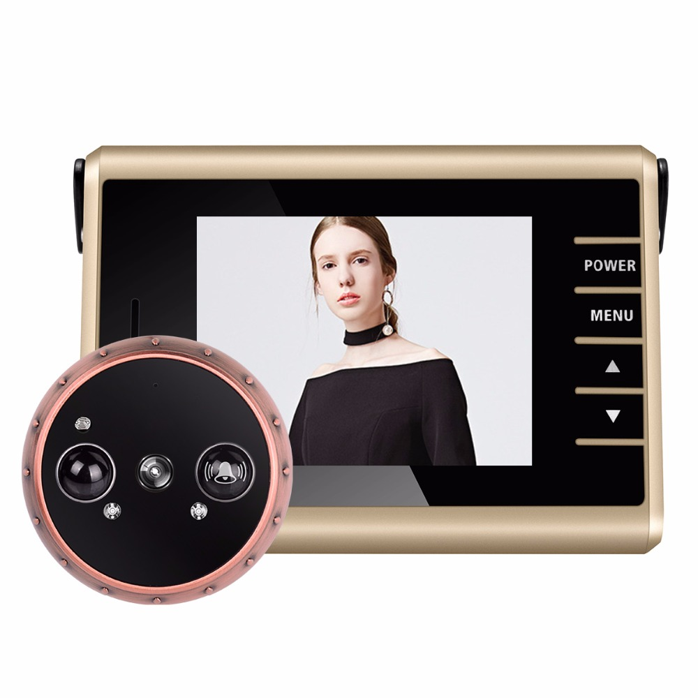 PIR Motion Detection Door Camera Wireless Door Peephole Camera with Doorbell 3.0 LCD Electronic Video Recording F1427D infrared detection automatic door 2012 latest competition kit electronic product assembly and commissioning test