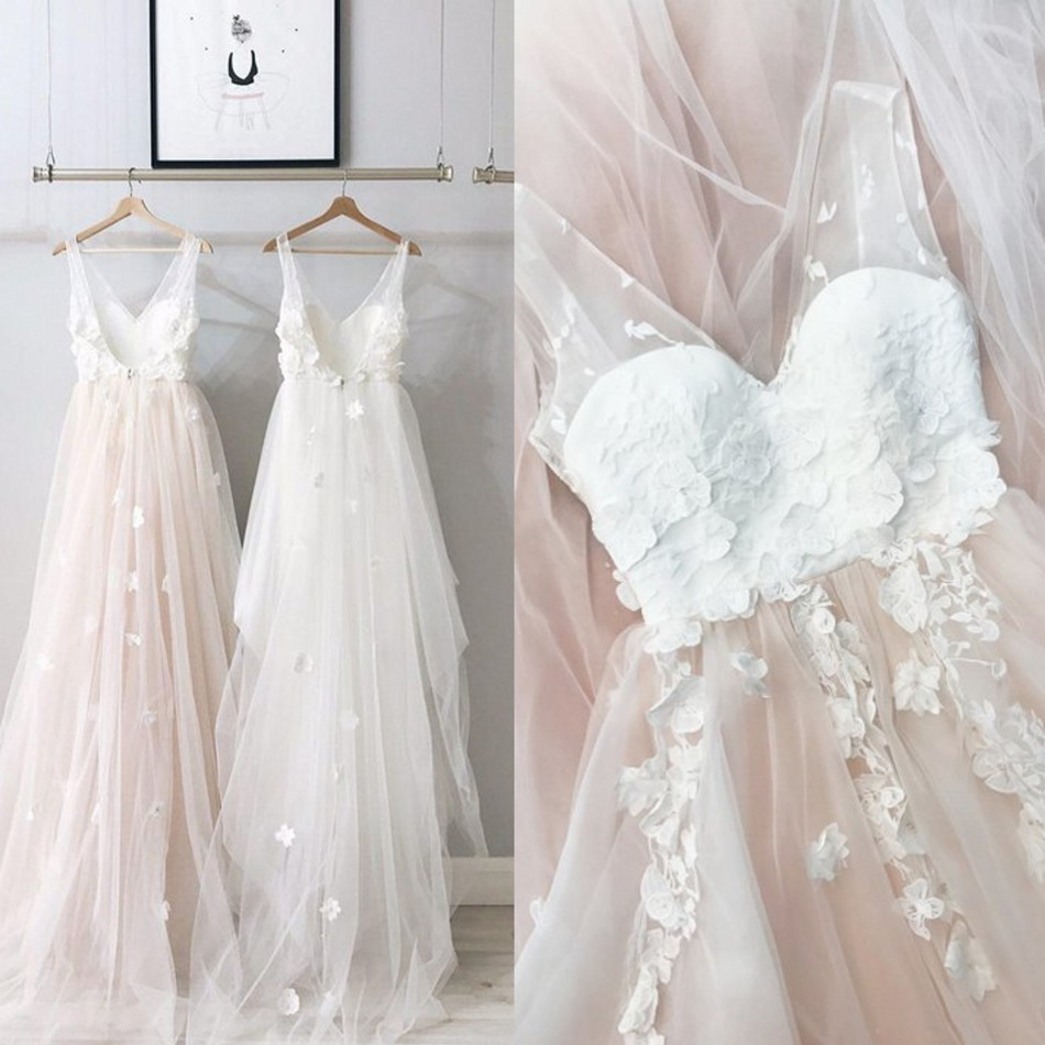 Pretty Blush Pink 3D Flower Prom Gowns Backless Pretty Tulle Lace Formal Party Dresses V-neck Ruffles Robe De Soiree 2018