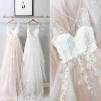 Pretty Blush Pink 3D Flower Prom Gowns Backless Pretty Tulle Lace Formal Party Dresses V neck Ruffles Robe De Soiree 2018
