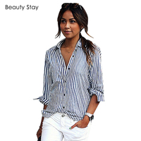 BeautyStay Spring Autumn Blue White Stripped Casual Blouse Chiffon Loose Women Elegant Cotton 2017 Ladies Office