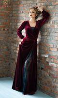 Мода вина красные платья для выпускного 2019 Для женщин пикантные Разделение V шеи линии высокое качество с длинным рукавом Формальные велюр