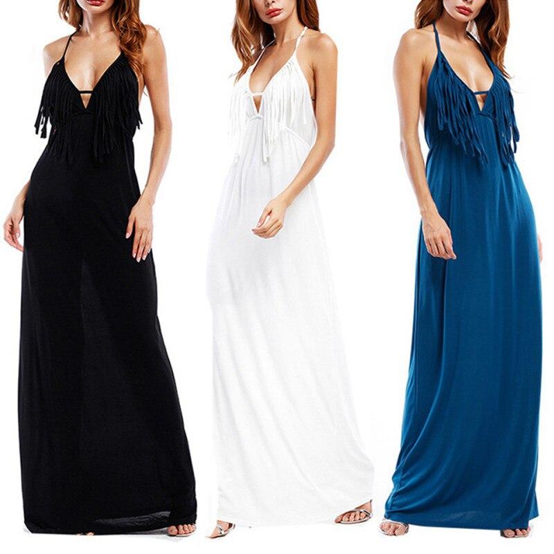266219b2beb 2018 White Deep V Neck Maxi Dresses Backless Halter Neck with Tassel Tie  Sexy Dress Summer Boho Beach Vestidos-in Dresses from Women s Clothing on  ...