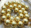 "Hot free deliver goods wholesale new Charming!16mm Golden South Sea Shell Pearl Necklace 18"" wj380"