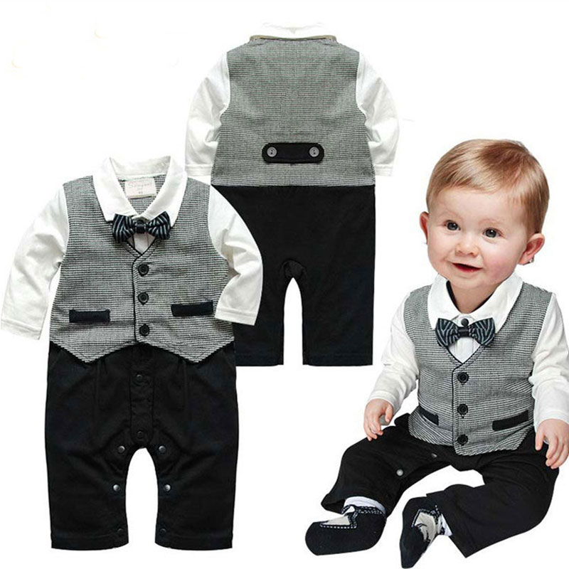 Formal Rompers For Infant Baby Boy Wedding Clothes Spring 2017 Outerwear Kids Cotton Cloth Jumpsuit Newborn Baby Boy Romper