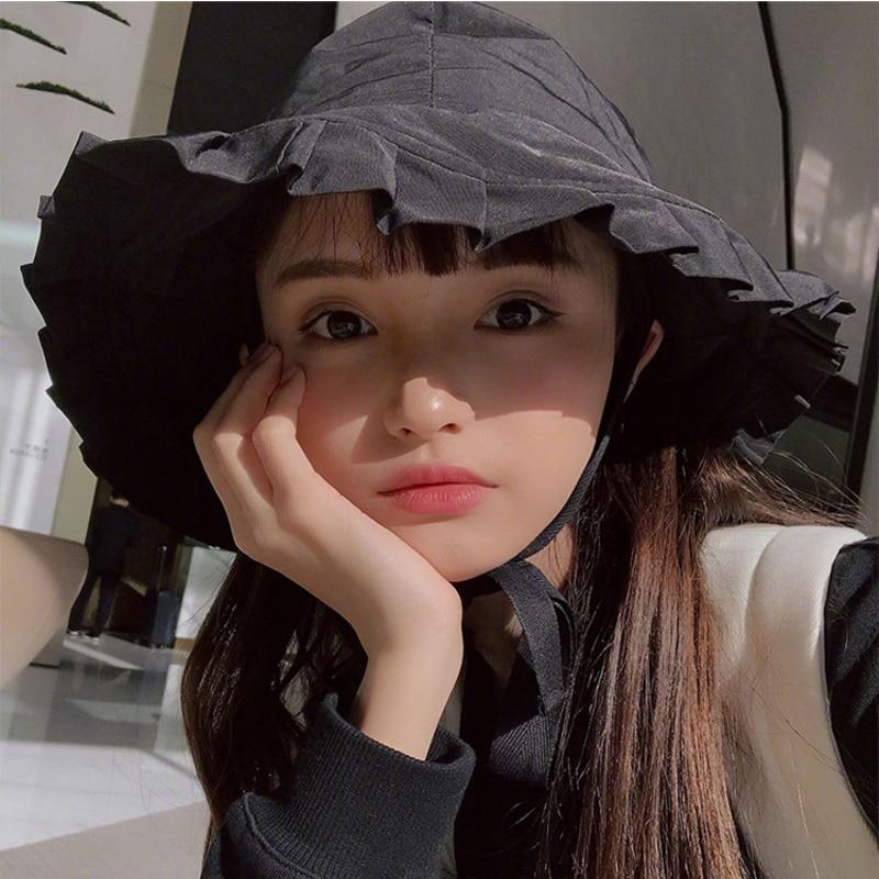Women's Bucket Hats Obedient Ht1258 New Fashion Women Summer Hats Wide Brim Beach Sun Hats Solid Black Plain Bucket Hats Korea Style Brand Flounce Sunbonnet Jade White Apparel Accessories