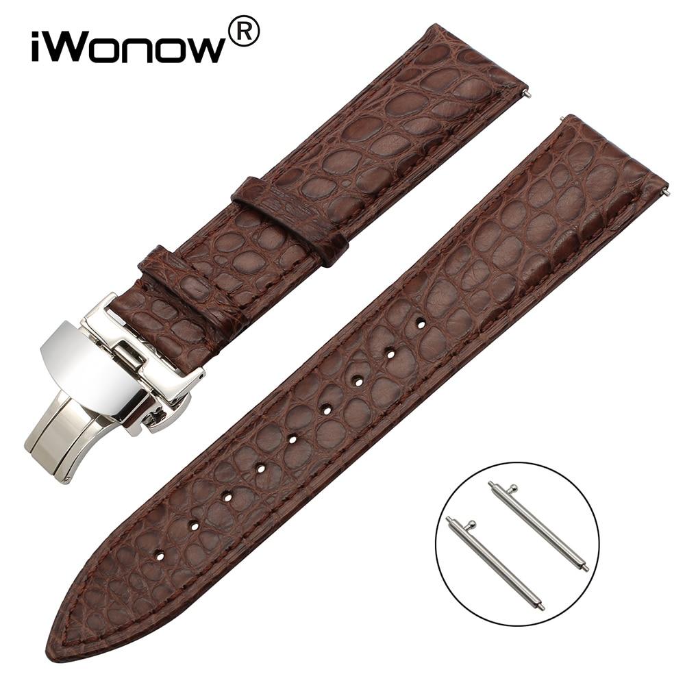цена Genuine Alligator Leather Watchband 18mm 20mm 22mm Universal Watch Band Quick Release Strap Steel Butterfly Buckle Belt Bracelet онлайн в 2017 году