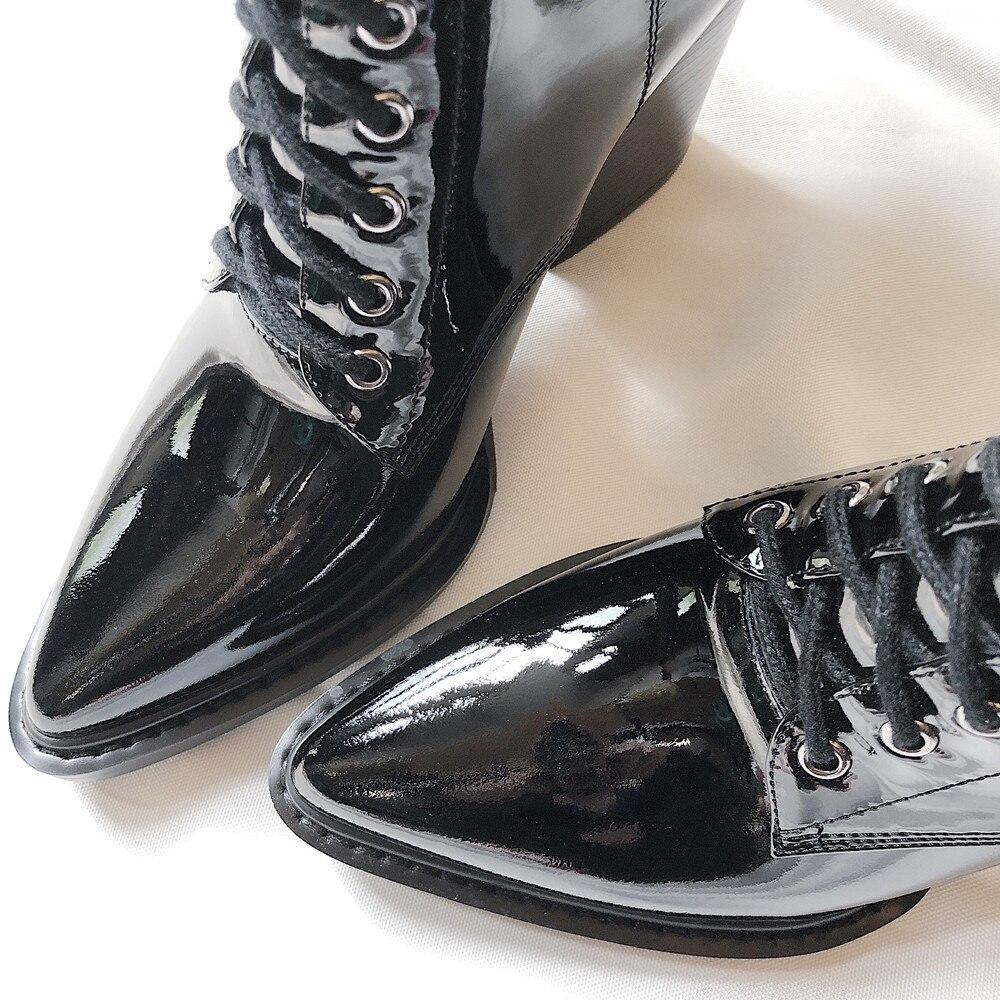 Ayakk.'ten Diz Hizası Çizmeler'de MStacchi kadın Motosiklet Çizmeler Sivri burun Lace up Kalın Ayakkabı Kadın Patent Deri Diz Yüksek Çizmeler Moda Botas mujer'da  Grup 3