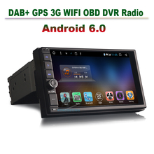 2GB RAM Quad-core Android 6.0 Head Unit Car GPS Navigation 2 Din Autoradio car dvr gps navigator dab obd 3g wifi radio bt usd sd