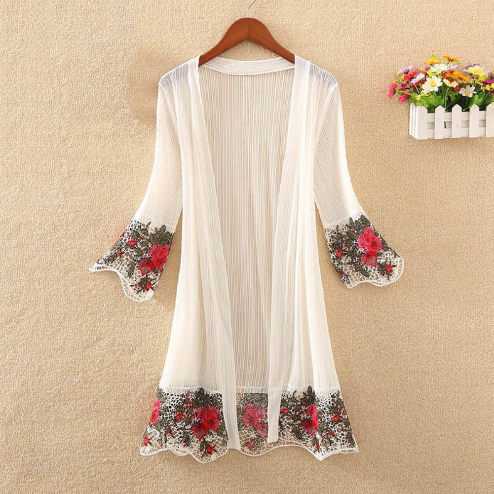 Flower Embroidery Long Sleeve Summer Beach Kimono Cardigan Women Bikini Cover Up Wholesale in Blouses amp Shirts from Women 39 s Clothing