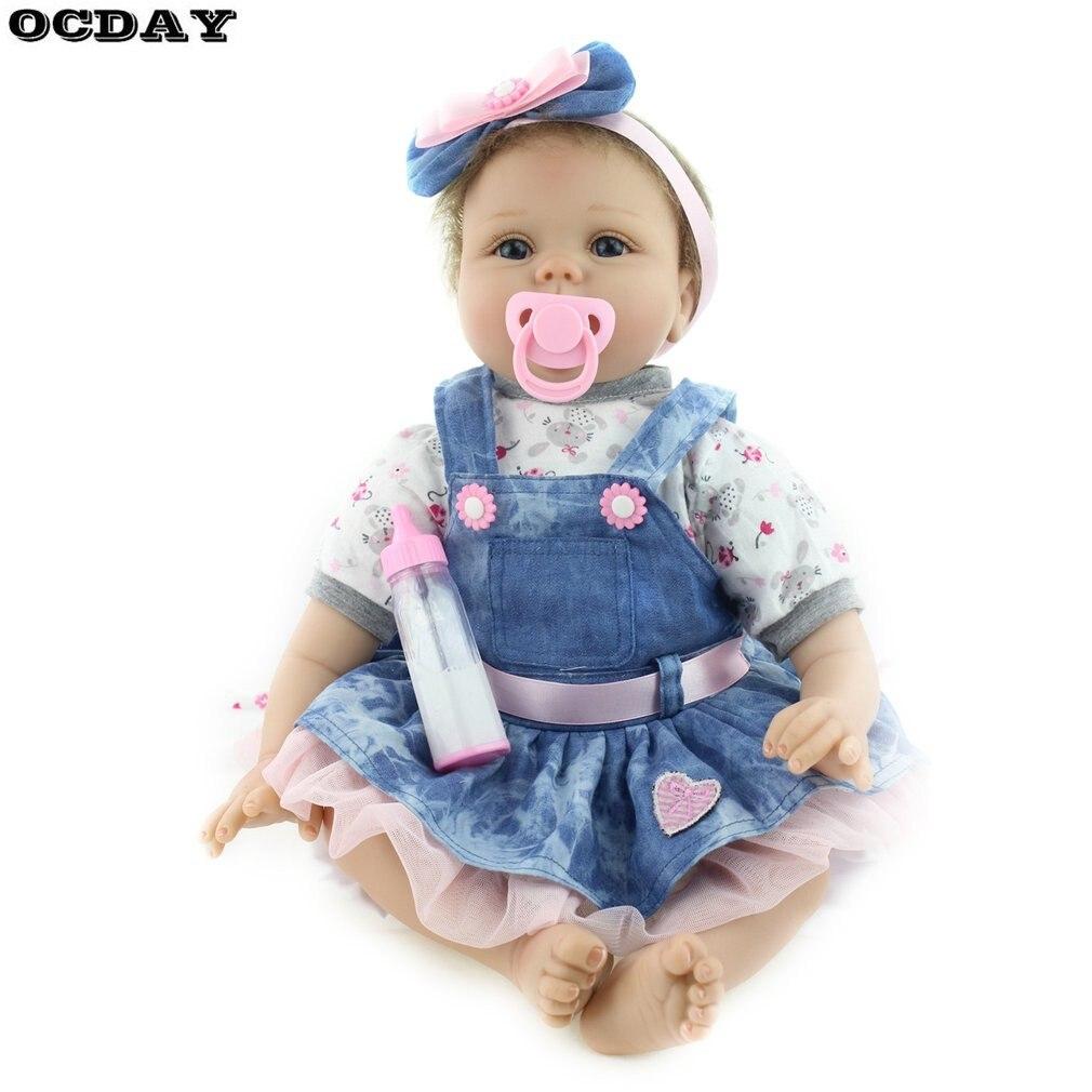 Poupées Reborn faites à la main 55 CM réaliste Silicone souple vinyle bébé poupées réaliste nouveau-né poupée cadeau de noël pour les enfants filles chaud