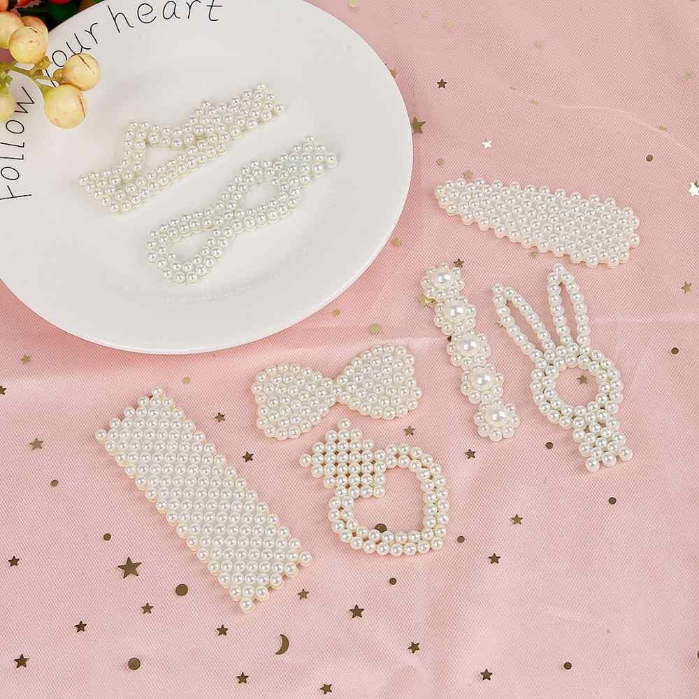 1 unidad corazón arco ABS perlas Base en blanco suministros espaciadores conectores para joyería DIY encantos pinzas para el pelo Barrettes hecho a mano