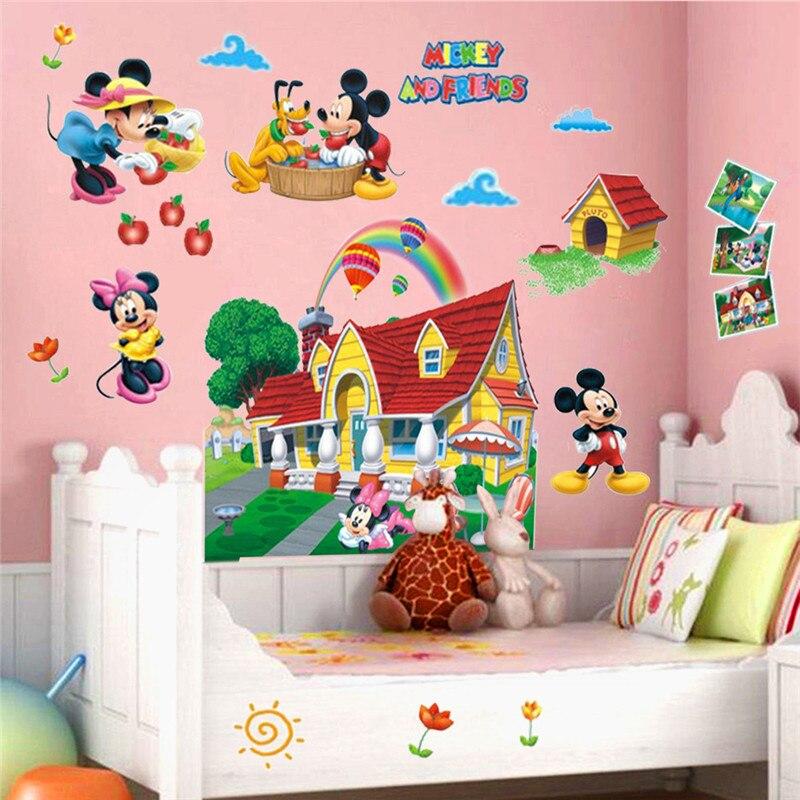 Mickey Minnie Mouse Família 3D PVC Adesivos De Parede De Vinil Decalques  Crianças Nursery Mural Decor Part 69