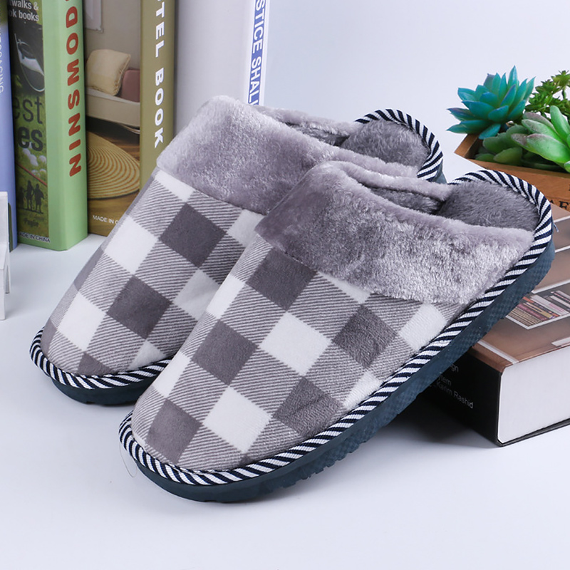 Womens Slippers home Fashion Gingham slippers Woman Plus Size 43-46 Fur Short Plush Suede Non slip woman