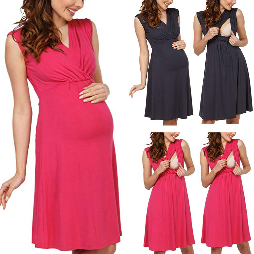 Summer 2019 Maternity Dress Pregnancy Dress Breastfeeding Clothes Women Pregnants Maternity Sleeveless Solid Sundresses in Dresses from Mother Kids