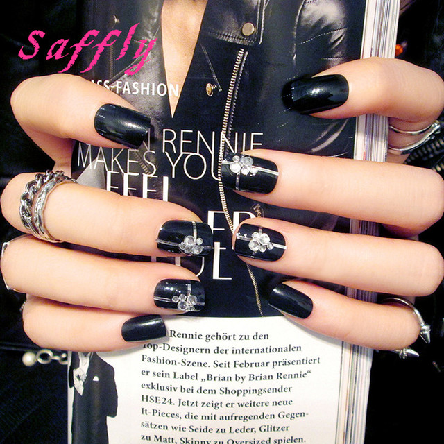 Saffly New 24pcs with diamond flake Black False Nails with Feather ...