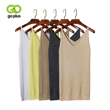 GOPLUS 2019 Spring Sexy Knitted Tank Top Women Slim Solid Silver V Neck T-shirt Female Crop Sleeveless Vest Casual Camis Blouse
