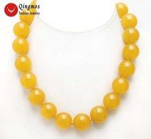 """Qingmos 20 мм желтые нефриты 17 """"Чокеры ожерелье для женщин"""