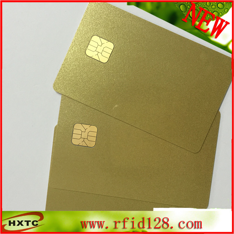 Free shipping (50 PCS/Lot) ISO7816 SLE4428 Chip PVC gold color Card with 1024 Bytes Memory for Contact ACR Card Reader Writer