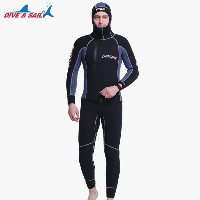 DIVE&SAIL Double Warm Professional 5MM 2-Piece Neoprene Scuba Dive Wetsuit With Hooded Spearfishing Wet Suit For Men Equipment I