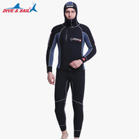 DIVE&SAIL Double Warm Professional 5MM 2 Piece Neoprene Scuba Dive Wetsuit With Hooded Spearfishing Wet Suit For Men Equipment I