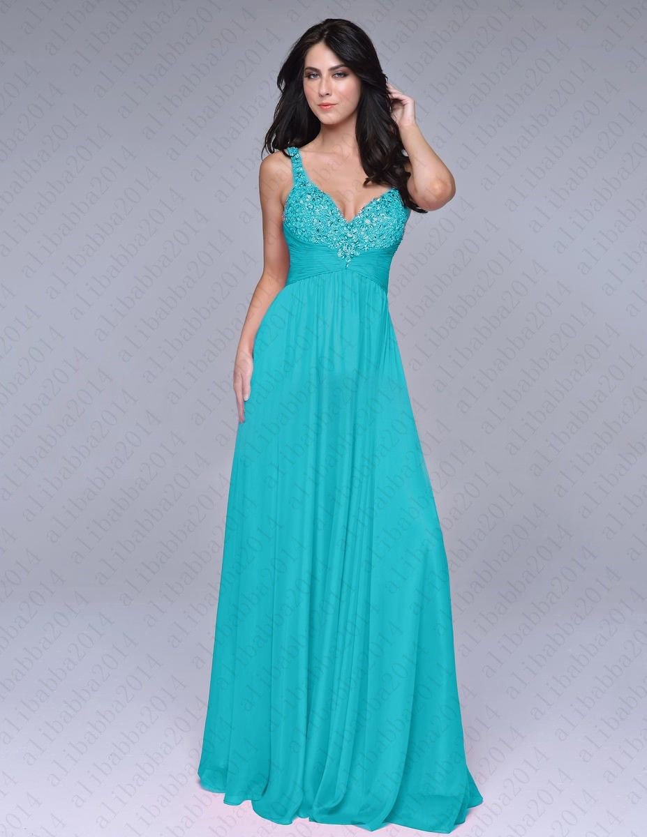 2016 New Turquoise Beading Maxi Chiffon Women Party Noble Dress ...
