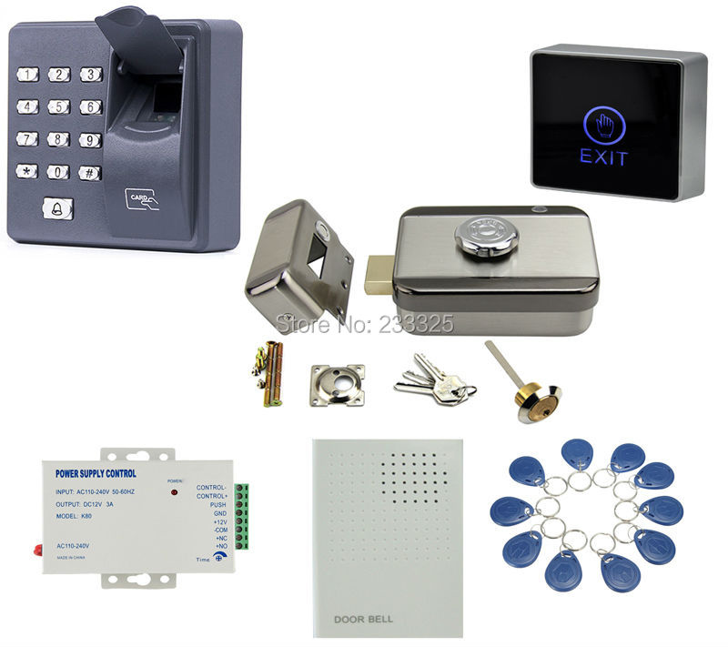 X6 Fingerprint access control RFID keypad 125KHZ Electric Control Door Lock For 12V DC Access Control System kit 20 tags double sided turnstile for access control system catracas tourniquetes